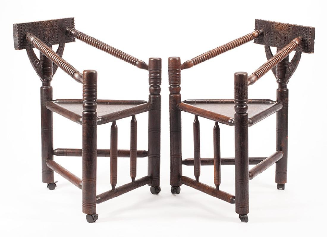 Tudor-Style Turned and Carved Oak Armchairs