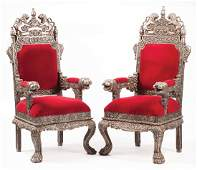 """Pair of Anglo-Indian """"Argenté"""" Throne Chairs"""