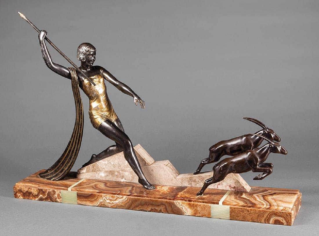 Art Deco Spelter Figural Group of Diana Hunting