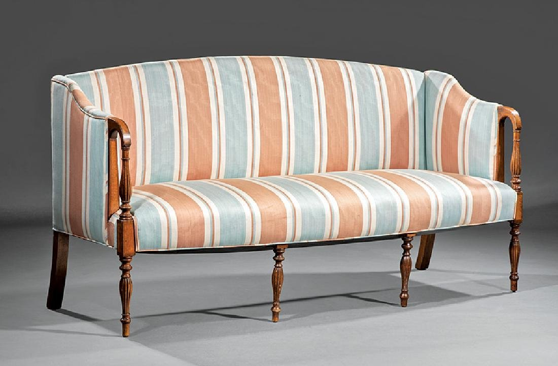American Federal Satinwood Inlaid Mahogany Sofa