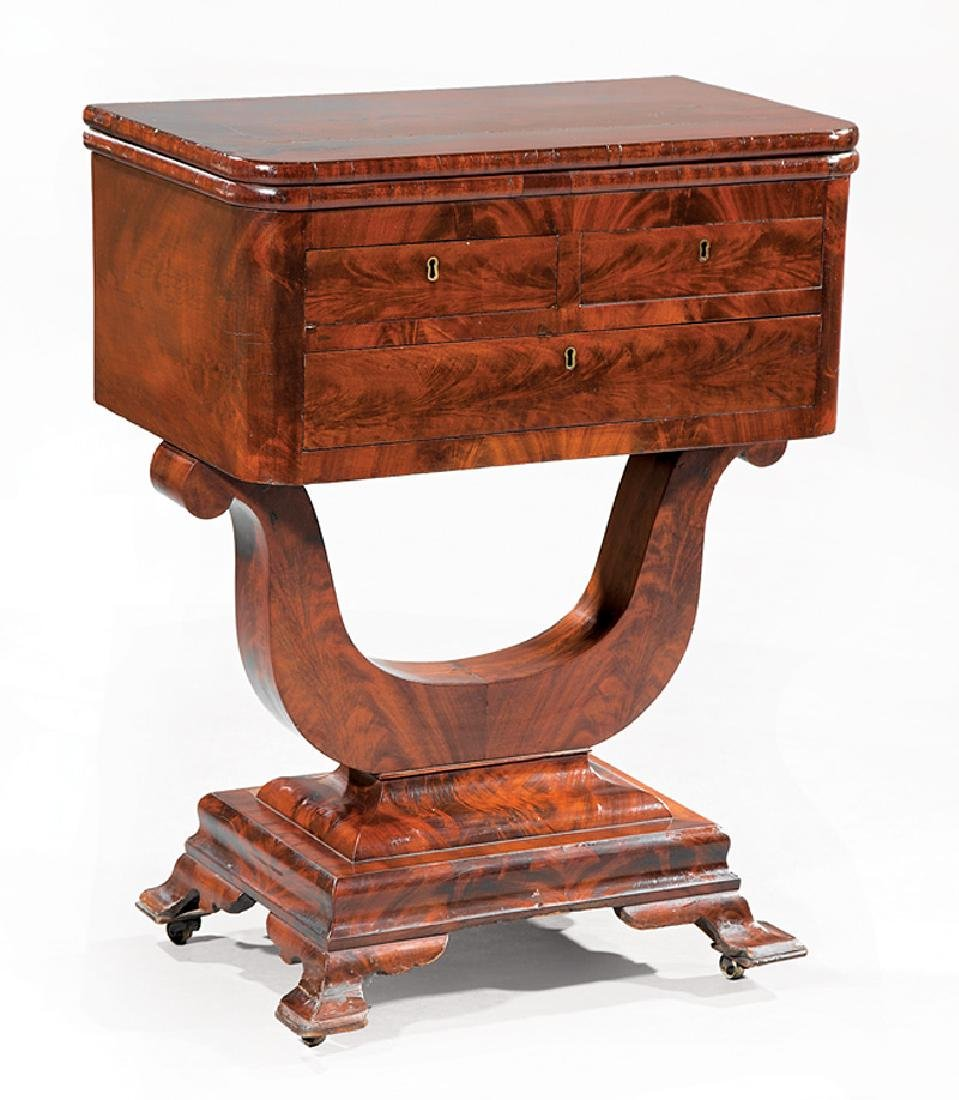 Carved Mahogany Work Table, attr. J. & J.W. Meeks