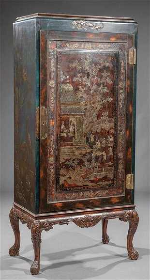 Mother Of Pearl Inlaid Lacquer Cabinet