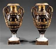 Pair of Paris Porcelain Amphora Vases