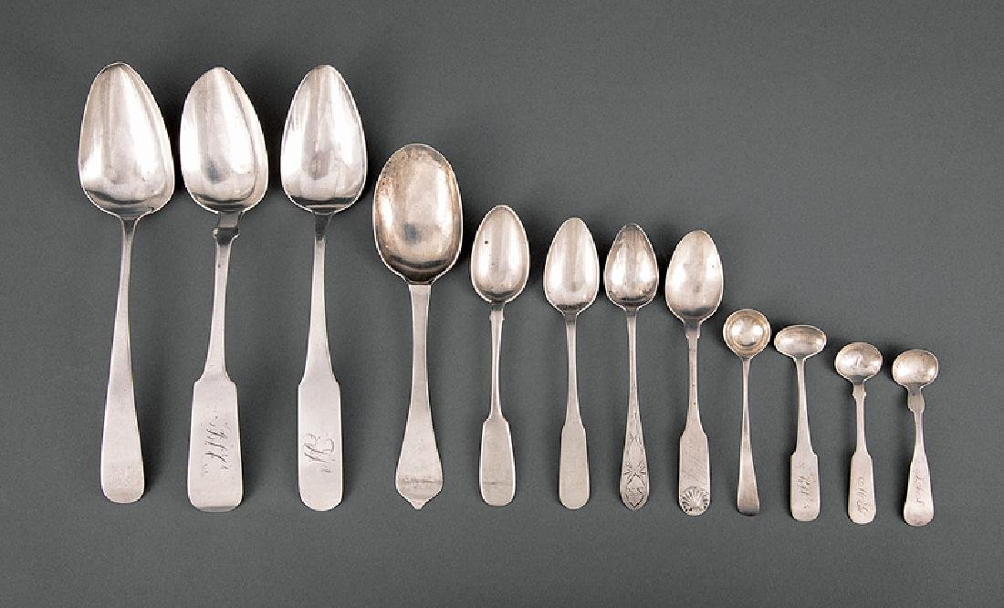 Group of American Coin Silver Spoons