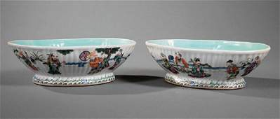 Chinese Famille Rose Porcelain Oval Bowls