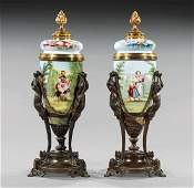 French Bronze-Mounted Porcelain Covered Urns