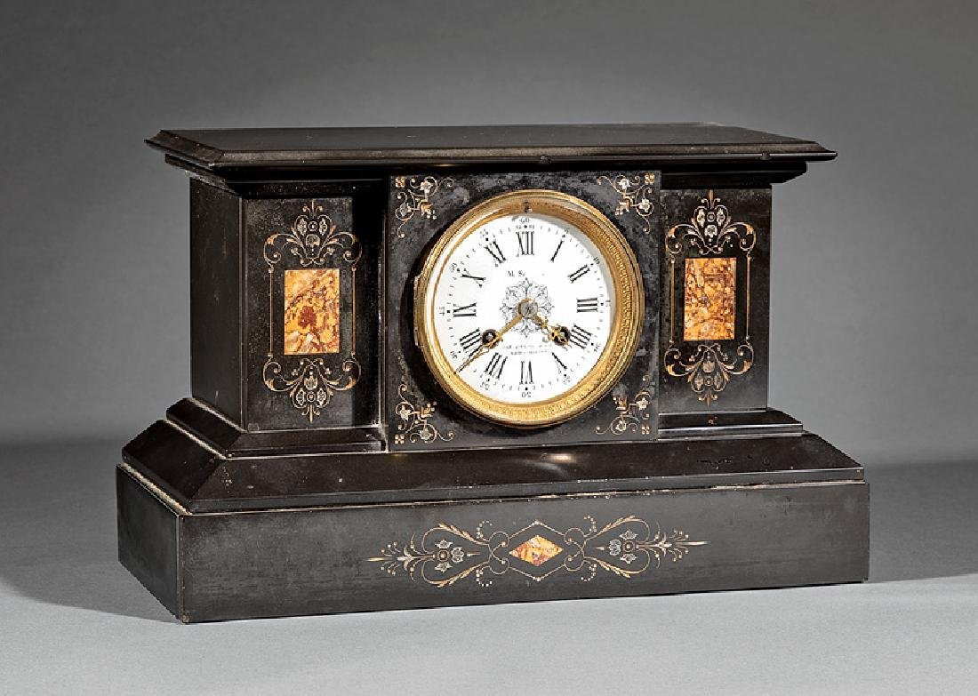 French Marble Mantel Clock, ret. M. Scooler