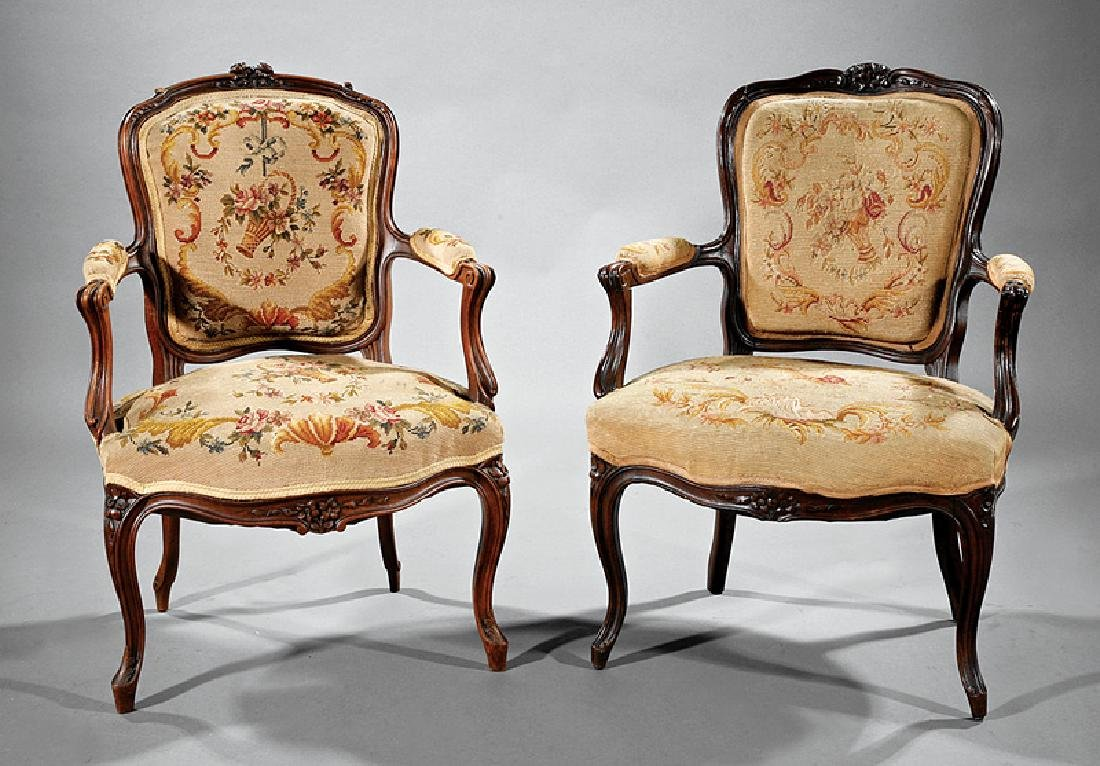 Antique Louis XV-Style Carved Walnut Fauteuils