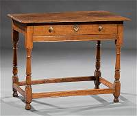 Antique Queen Anne-Style Carved Oak Side Table