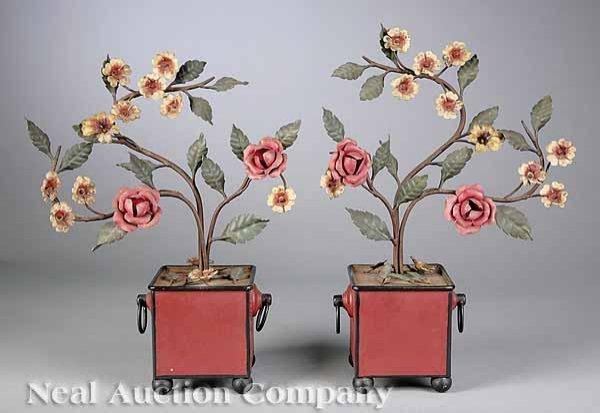 0004: Pair of Tole Peinte Rose Branches