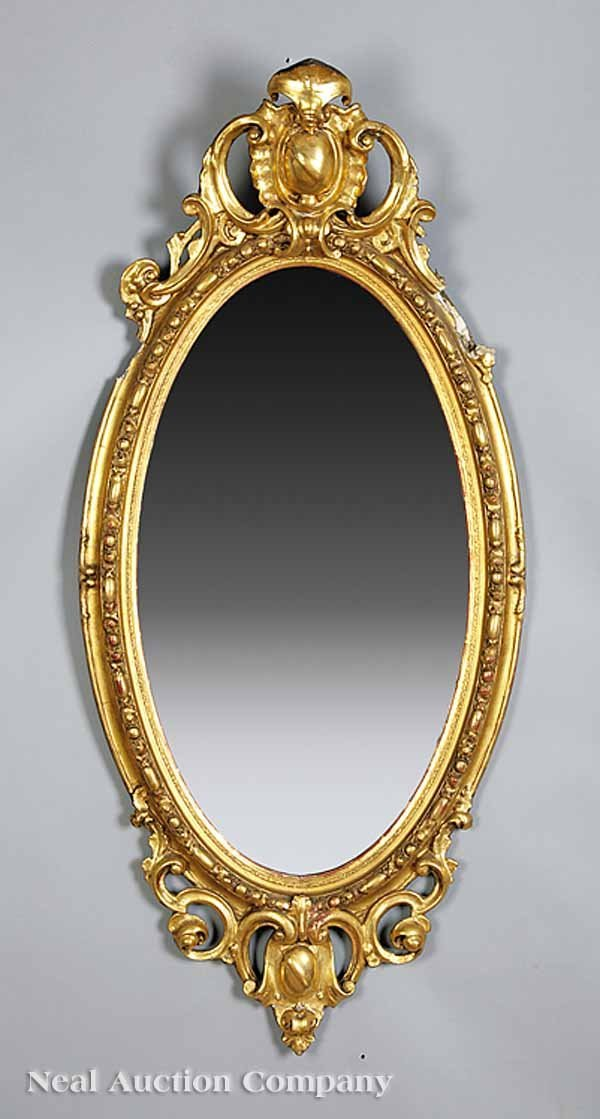 0006: Louis XVI-Style Carved and Gilded Oval Mirror