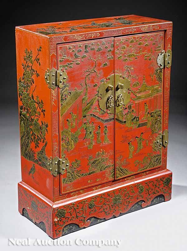 0007: Chinoiserie Red Lacquer Side Cabinet