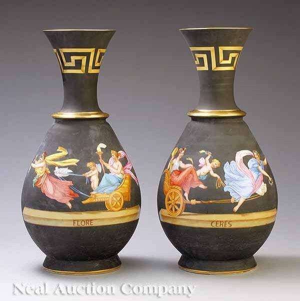 0013: Pair of Paris Porcelain Black Ground Vases