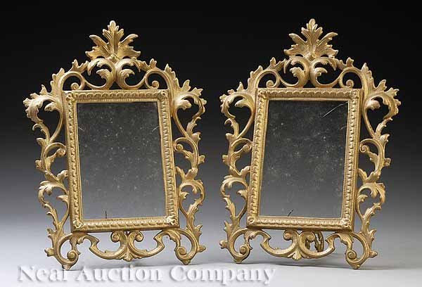 0016: Pair of Gilt Cast Iron Easel Back Picture Frames
