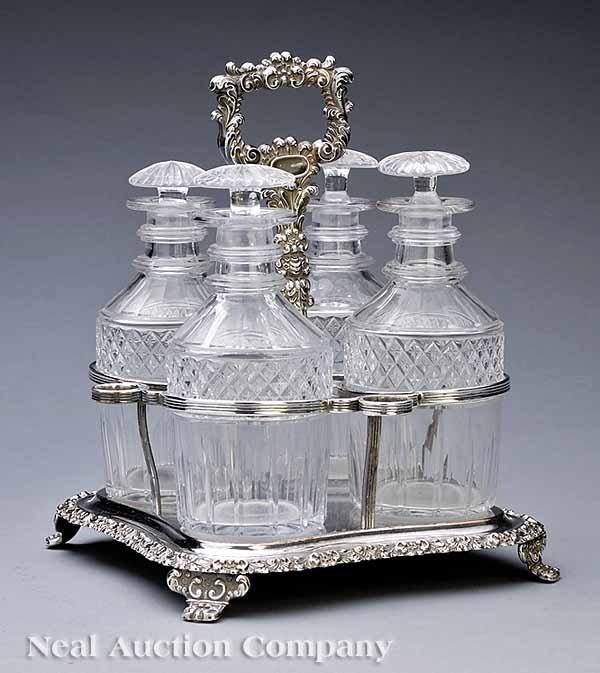 0017: Regency Sheffield Four Bottle Decanter Stand