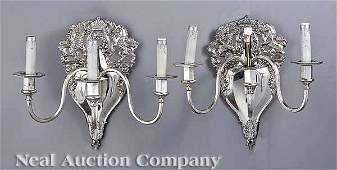 0086: Pair of Sheffield Silverplate Three-Arm Sconces