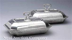 0490 English Sterling Silver Covered Entre Dishes