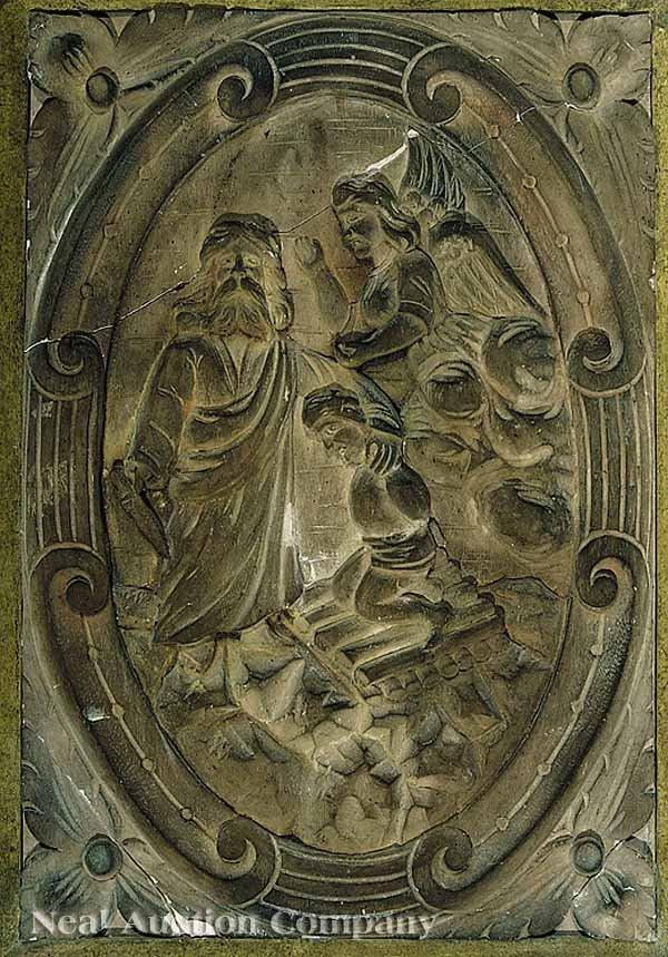 0662: Pair Terracotta Plaques of Old Testament Scenes