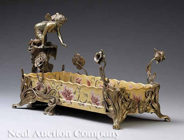 0663: Porcelain and Bronze-Mounted Figural Jardiniere