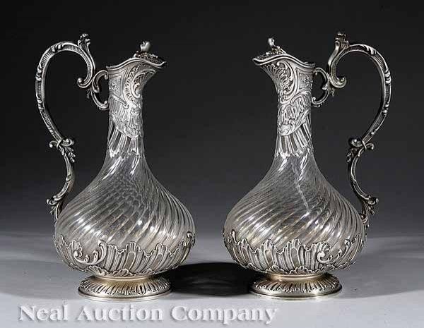 0669: Pair 1st Standard Silver & Crystal Claret Jugs