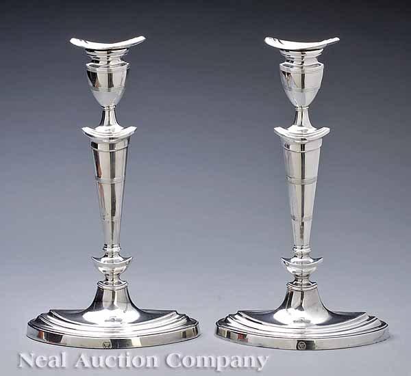 0673: Pair of English Silverplate Candlesticks