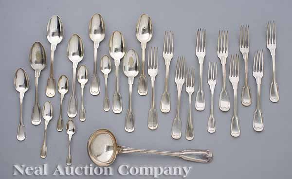 0676: Group of French Fiddlethread Silverplate Flatware