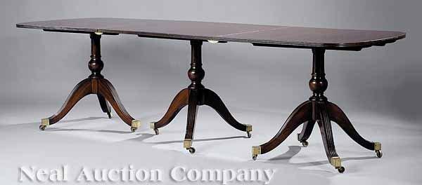 0681: Mahogany Three Pedestal Dining Table