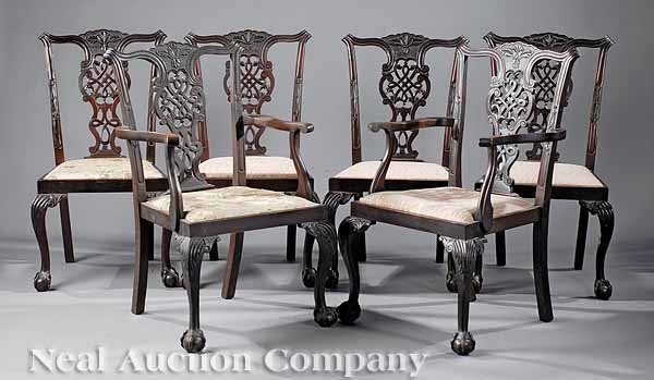 0682: Chippendale-Style Carved Mahogany Dining Chairs