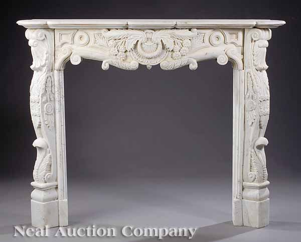 0724: Beaux Arts Carved Marble Mantel