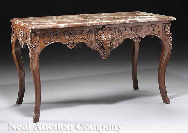 0798: French Regence Carved Walnut Table