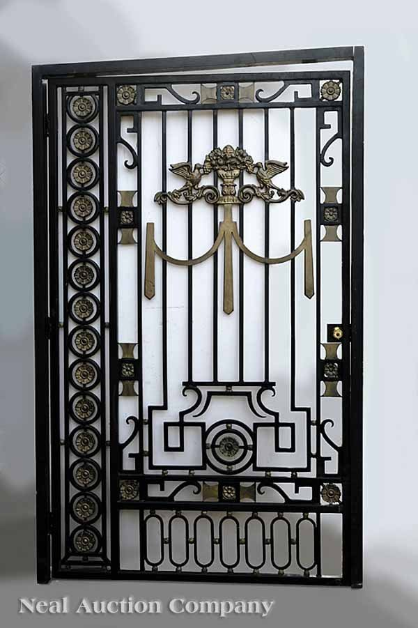 0846: Pair Wrought Iron Courtyard Gates with Frames
