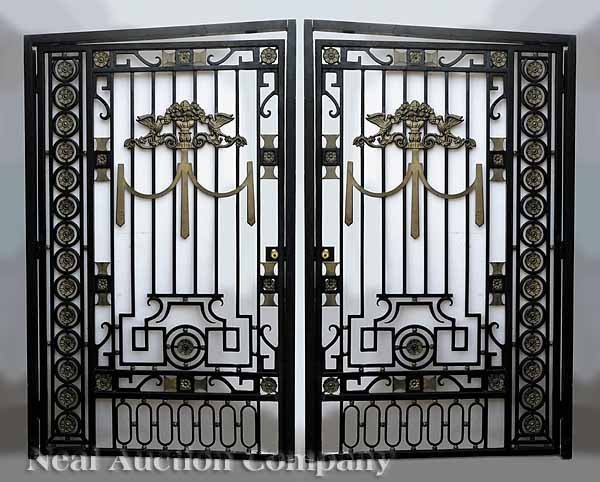 0846: Pair Wrought Iron Courtyard Gates with Frames - 2
