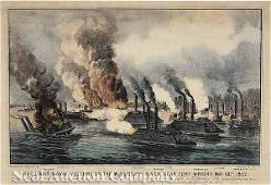 0903 Civil War Naval Battle Currier  Ives Lithograph
