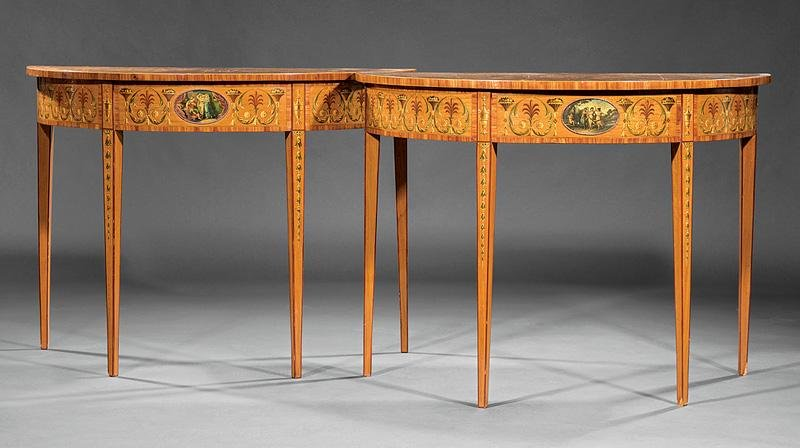 Painted, Inlaid Satinwood Demilune Tables