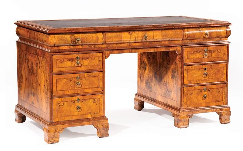 Burled and Figured Walnut Pedestal Desk