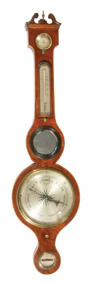 George III Inlaid Mahogany Barometer