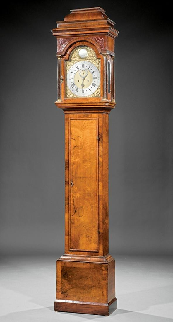 William Post Burl Walnut Tall Case Clock
