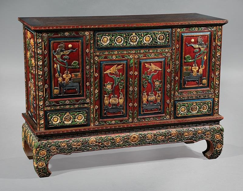 Vietnamese Carved, Painted Wood Cabinet