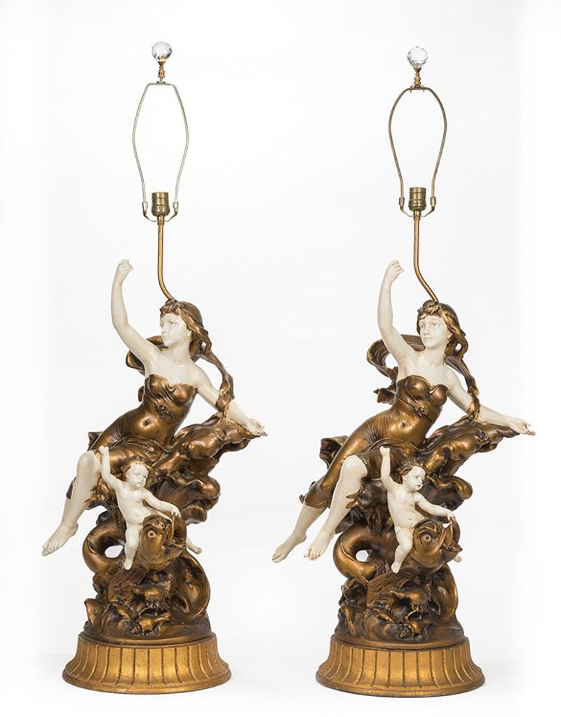 French Painted Metal Figural Lamps