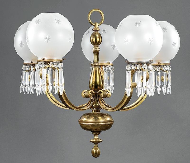 Continental Brass Five-Light Chandeliers