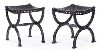 American Painted Cast Iron Curule Stools