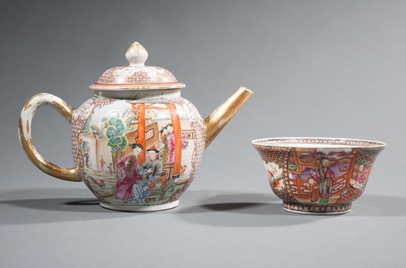 Chinese Export Porcelain Teapot & Bowl