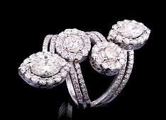 White Gold and Diamond Four Row Ring