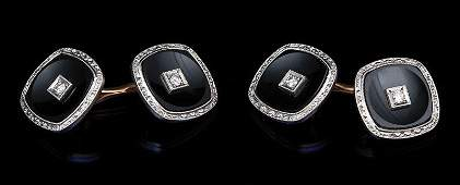 Yellow Gold Onyx and Diamond Cufflinks