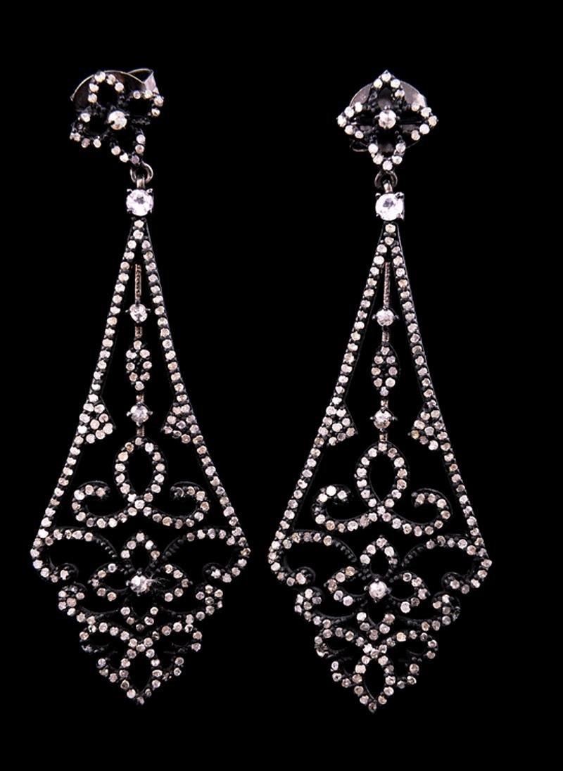 Silver, White Sapphire, Diamond Earrings