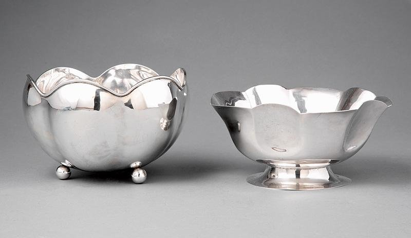 Two Mexican Sterling Silver Footed Bowls