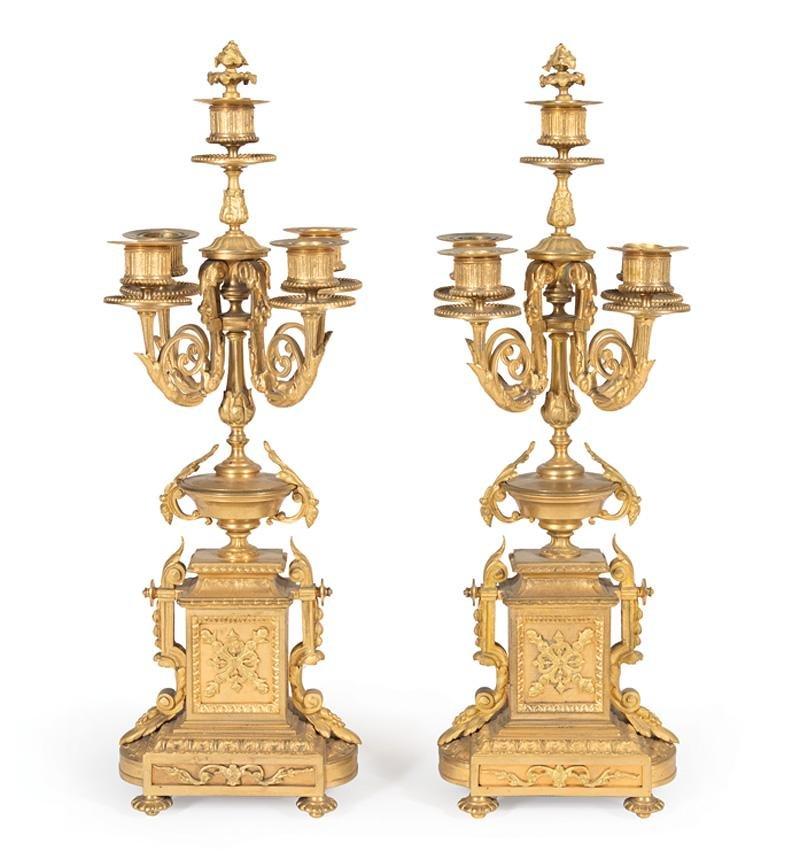 Gilt Bronze Five-Light Candelabra