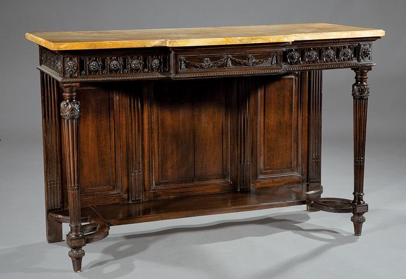 Carved Walnut Console Tables