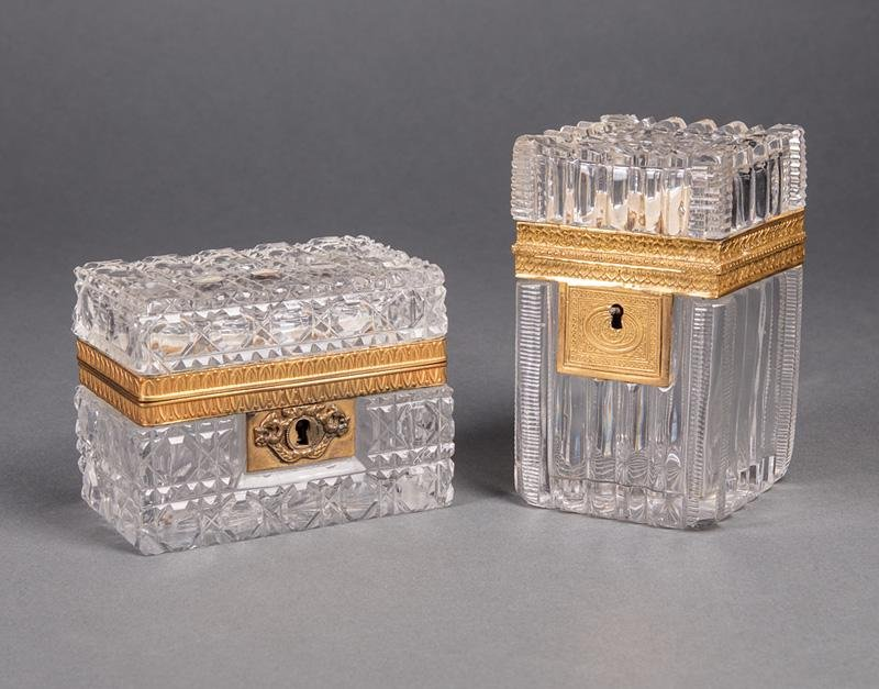French Bronze-Mounted Cut Crystal Boxes