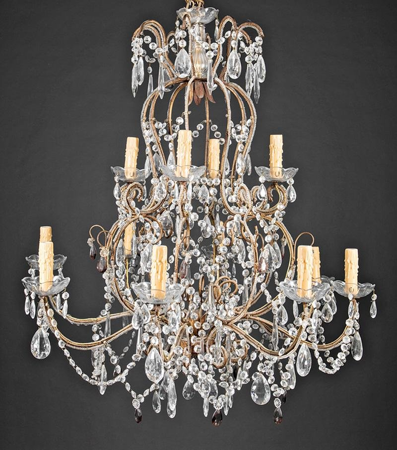Gilt Metal and Crystal Chandeliers